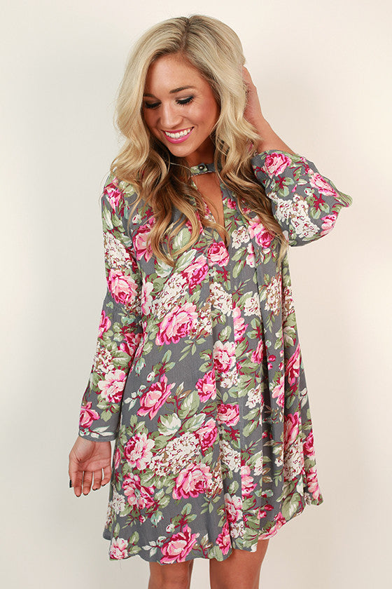 Front Porch Delight Floral Shift Dress in Grey