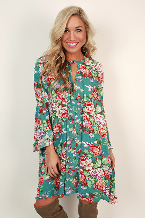 Front Porch Delight Floral Shift Dress in Teal