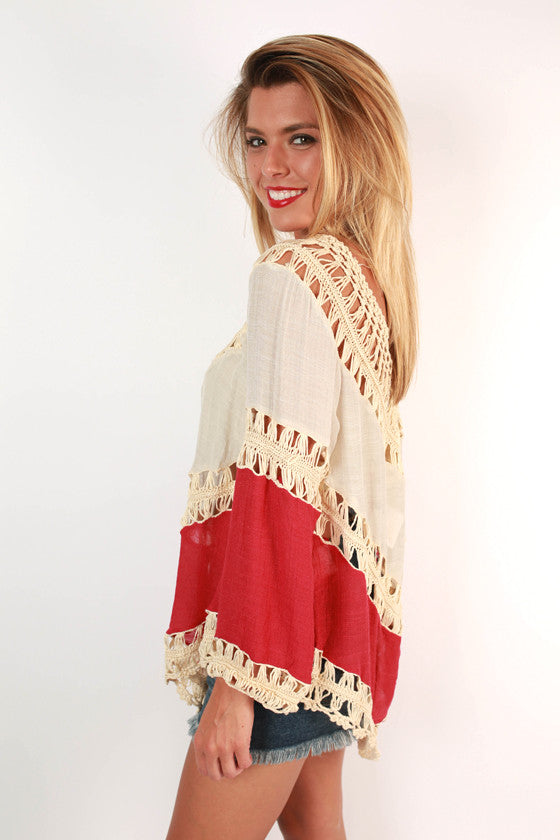 Sweet South Crochet Top in Crimson