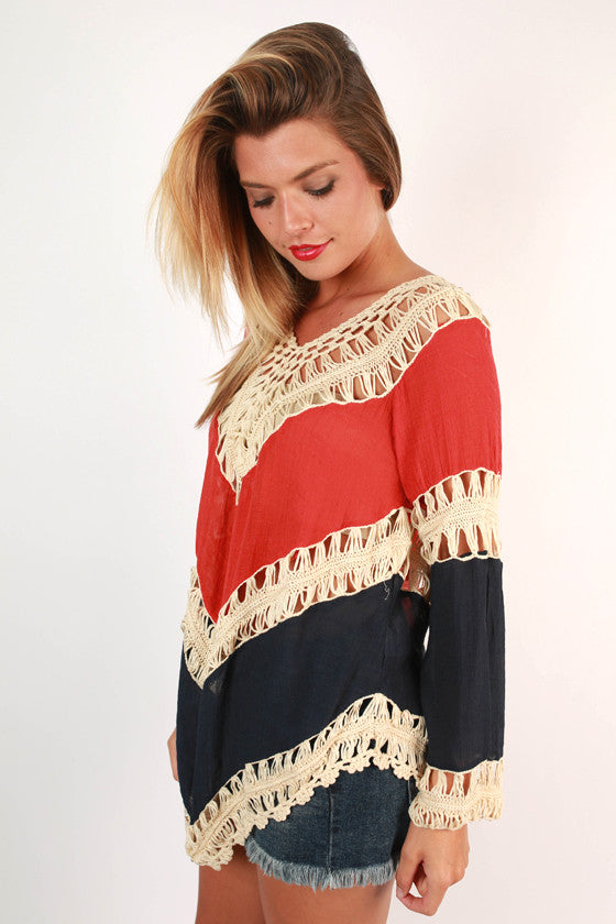 Sweet South Crochet Top in Navy
