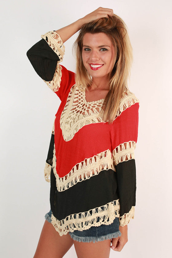 Sweet South Crochet Top in Black