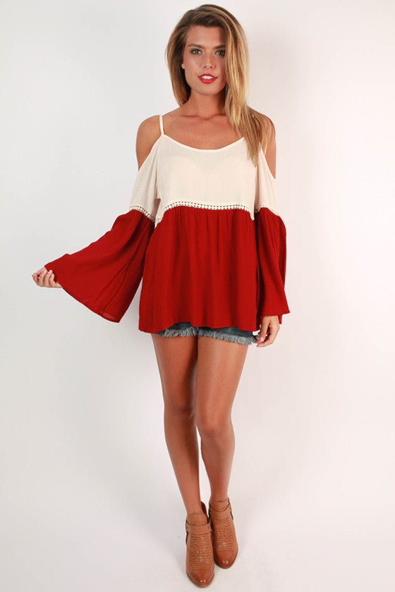 Playing The Field Tunic in Crimson