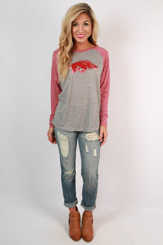 Distressed Foil Red Razorback Baseball Tee