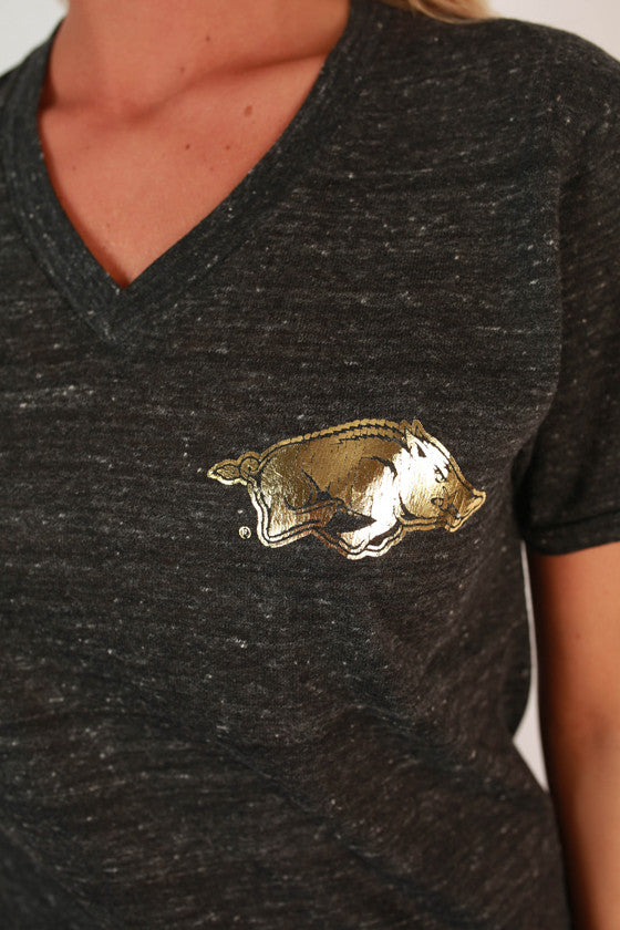 Little Razorback Gold Foil V-Neck Tee