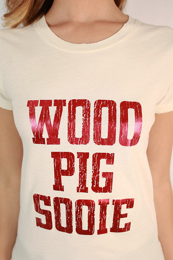 Distressed Red Foil Pig Sooie Tee