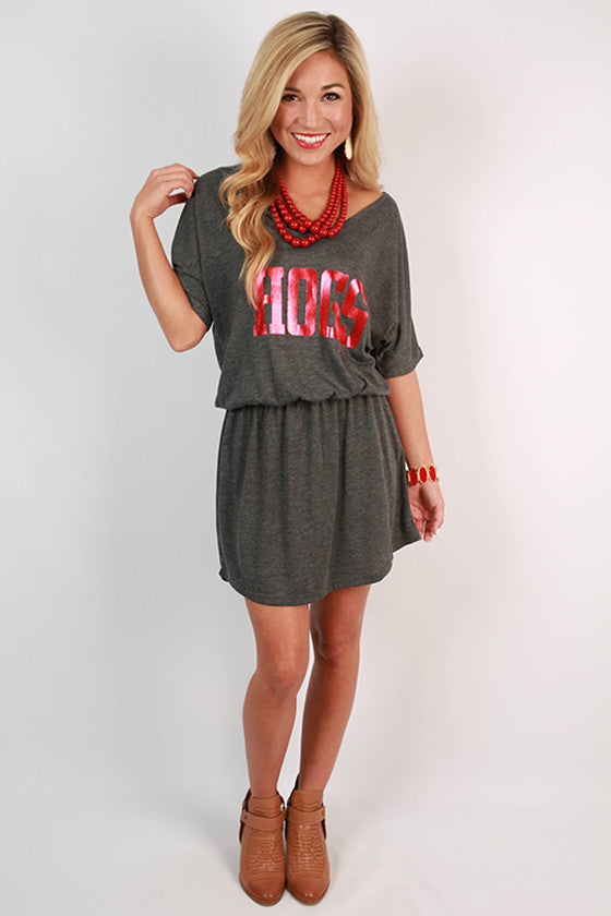 HOGS Flowy Elastic Waist V-Neck Dress