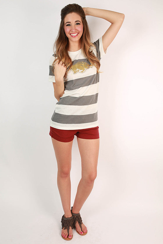 Gold HOGS Stripe Crew Tee