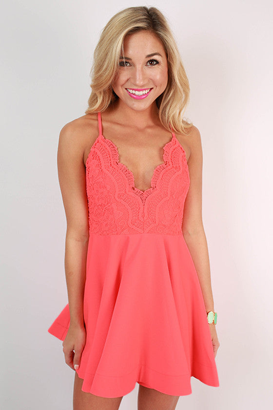 Crochet & Perfection Fit & Flare Dress in Coral