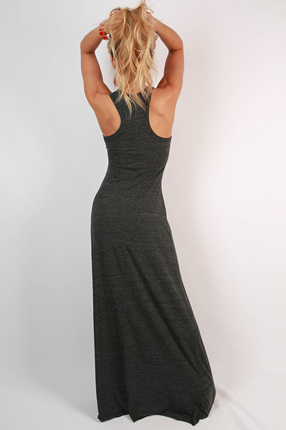 Distressed Gold Razorback Maxi Dress