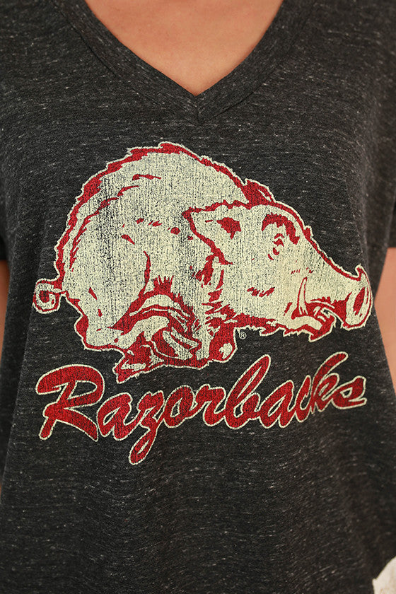 University of Arkansas Retro Boyfriend V-Tee in Charcoal