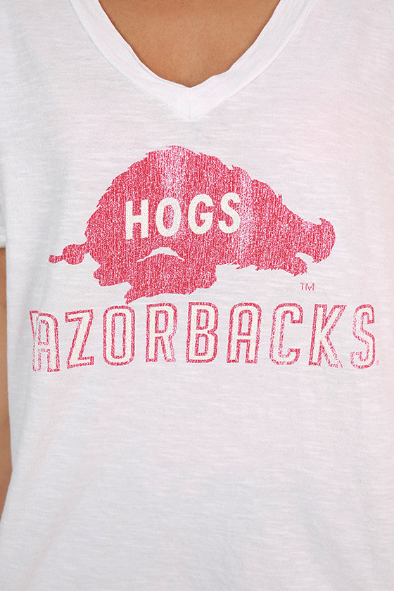 University of Arkansas Boyfriend V-Tee in White