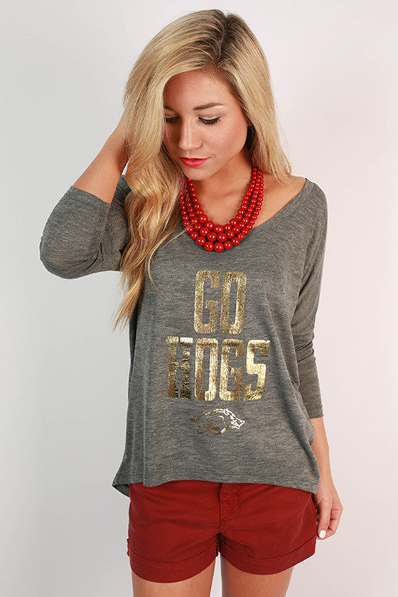 Gold Distressed GO HOGS Dolman Tee