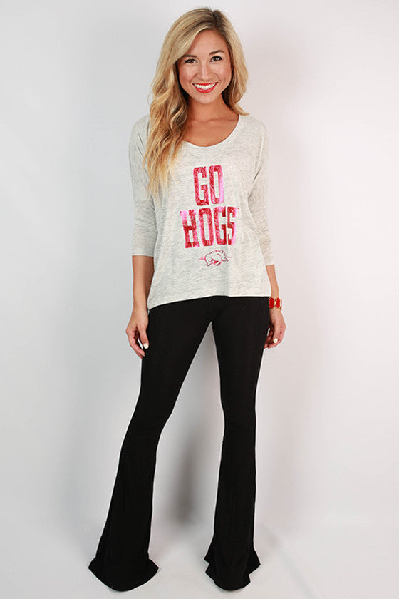 Red Distressed GO HOGS Dolman Tee