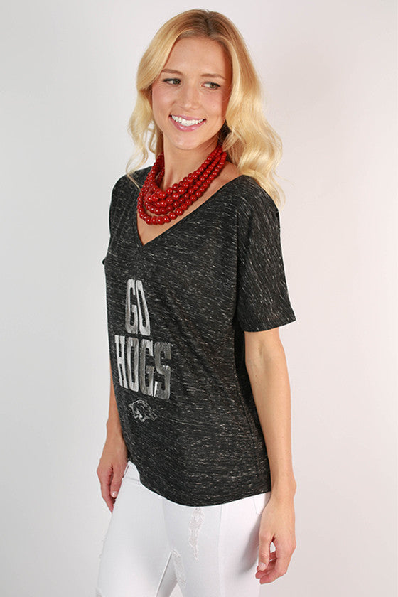 Silver Distressed GO HOGS V-Neck Tee