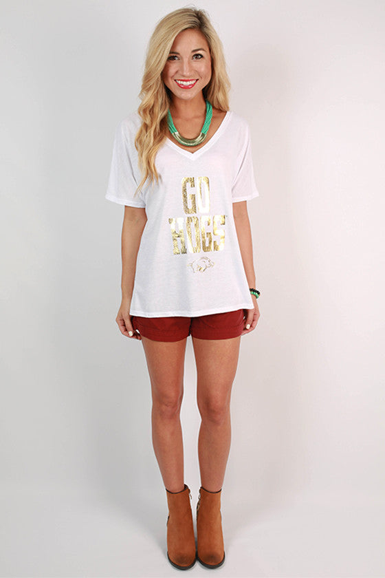Gold Distressed GO HOGS V-Neck Tee