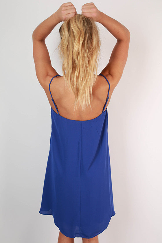 Paris After Midnight Shift Dress in Royal Blue