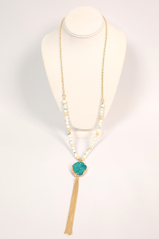 Making Memories Tassel Necklace in Blue