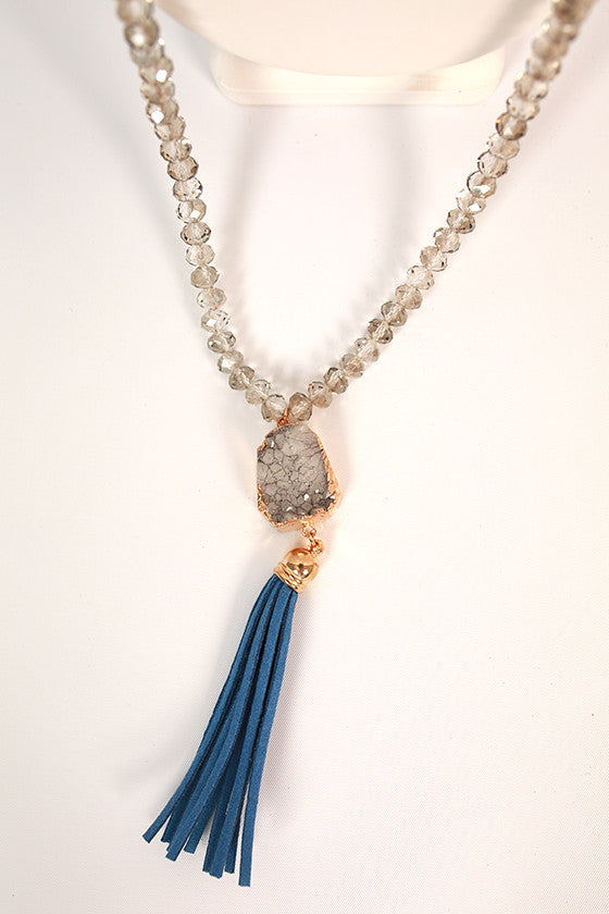 Pretty in Paradise Tassel Necklace in Blue