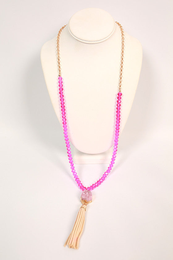 Pretty in Paradise Tassel Necklace in Pink