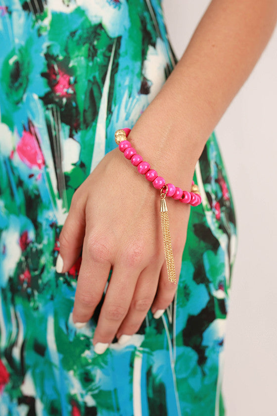 Sweet in Soho Stacking Bracelet in Hot Pink