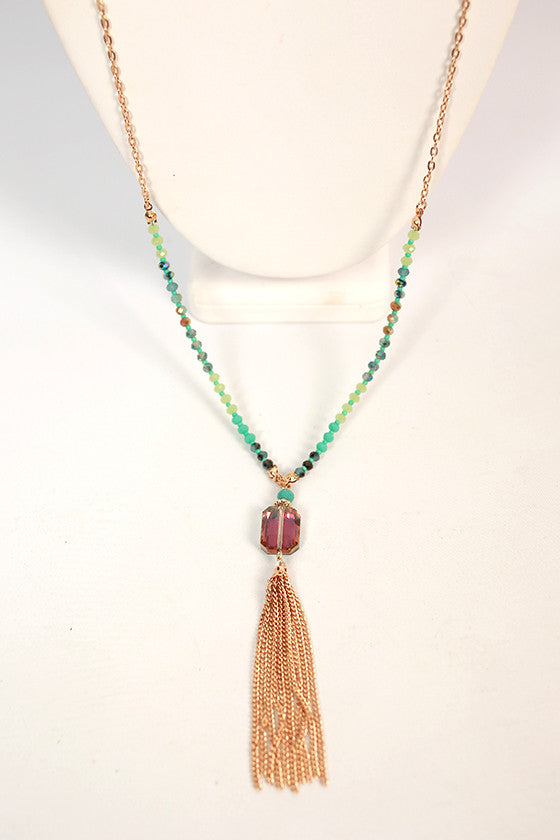 Gorgeous in Jewels Tassel Necklace