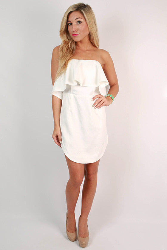 Rhythm & Ruffles Strapless Dress in White