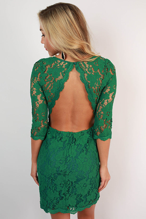 Paris Delight Open Back Lace Dress in Dark Emerald