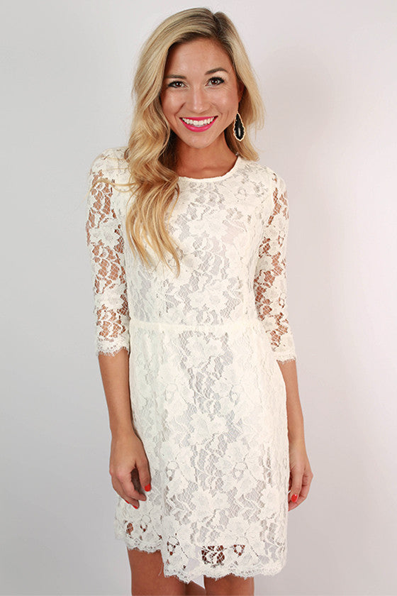 Paris Delight Open Back Lace Dress in White