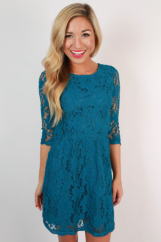Paris Delight Open Back Lace Dress in Teal