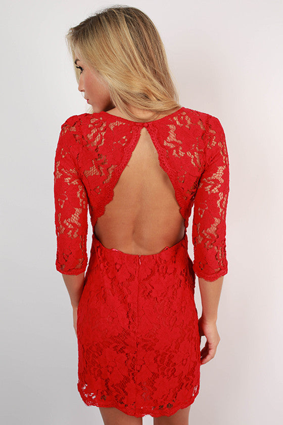 Paris Delight Open Back Lace Dress in Red