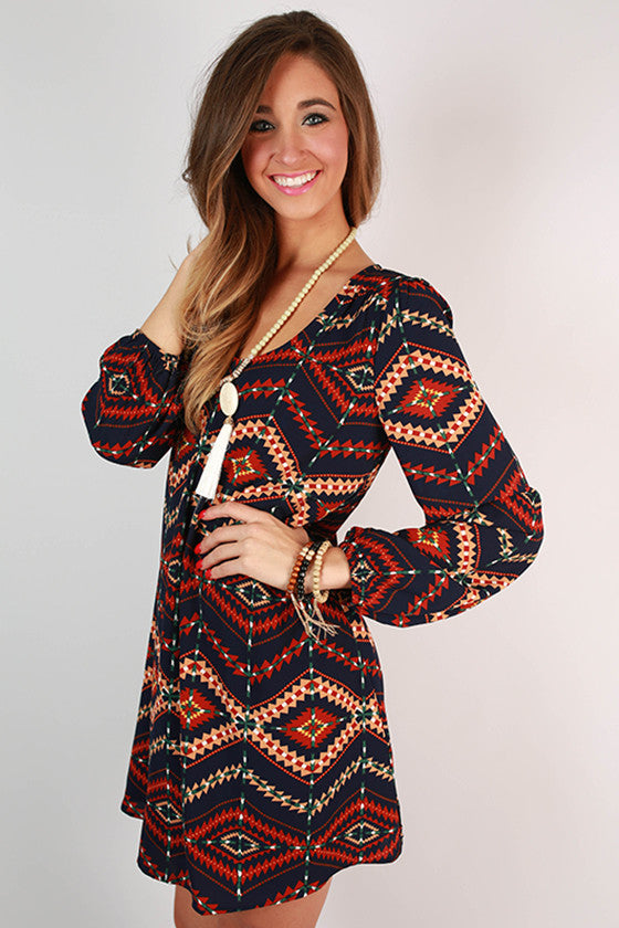 Love & Lattes Shift Dress in Navy