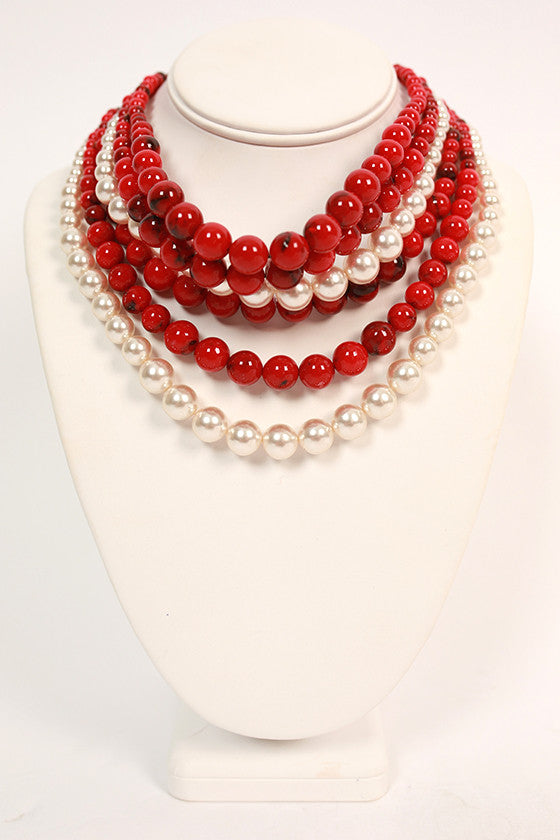 Southern Sunrise Layered Necklace in Crimson