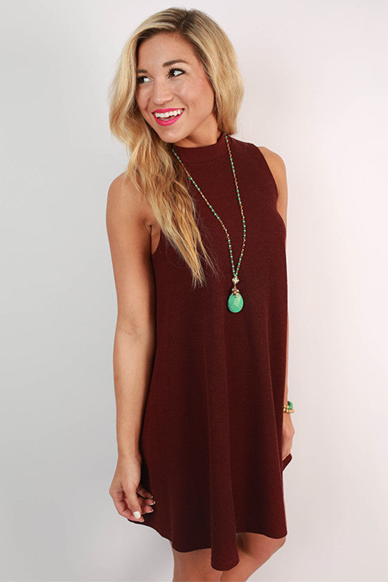 Give Me A Twirl Flare Dress in Ruby Wine