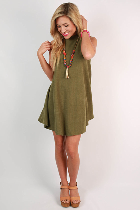 Give Me A Twirl Flare Dress in Army Green