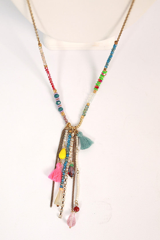 Champagne Sipping Tassel Necklace