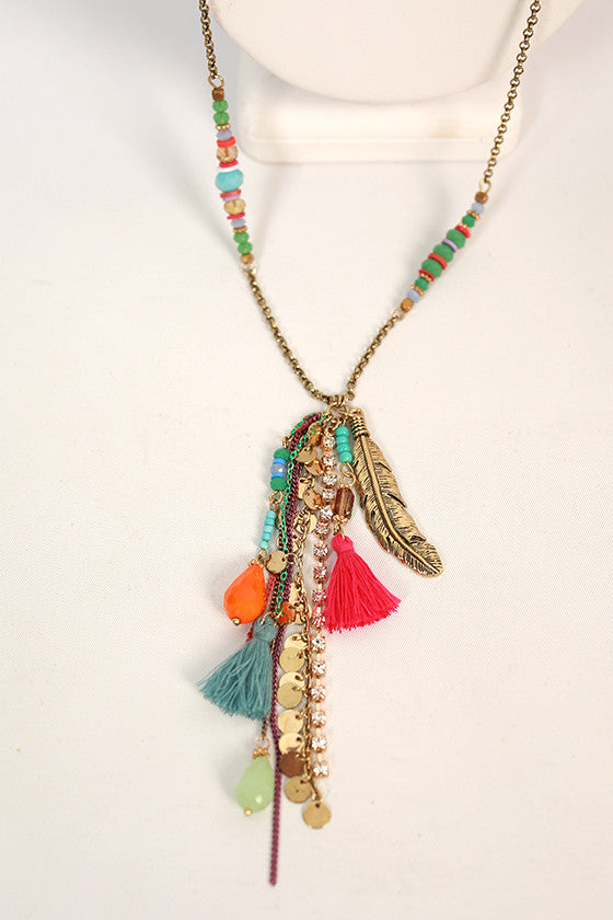 Mimosa Sipping Tassel Necklace
