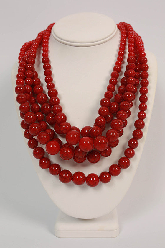 The After Party Distressed Layered Necklace in Red