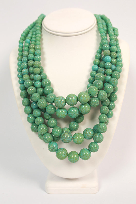 The After Party Distressed Layered Necklace in Aqua