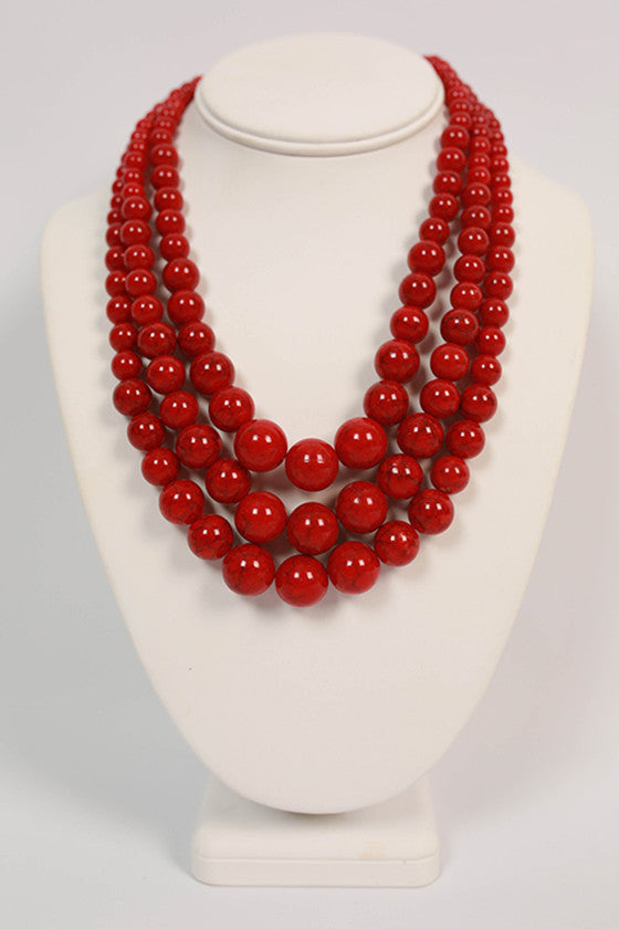 The Luckiest Girl Distressed Necklace in Red