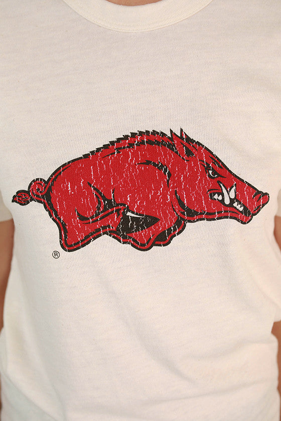 Distressed Razorback Crew Tee