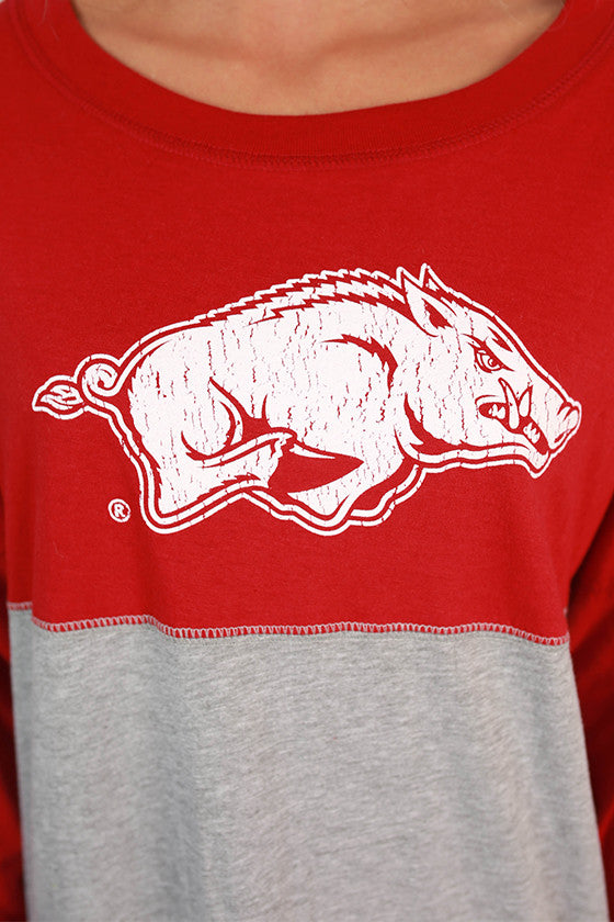 Distressed Razorback Color Block Long Sleeve Tee