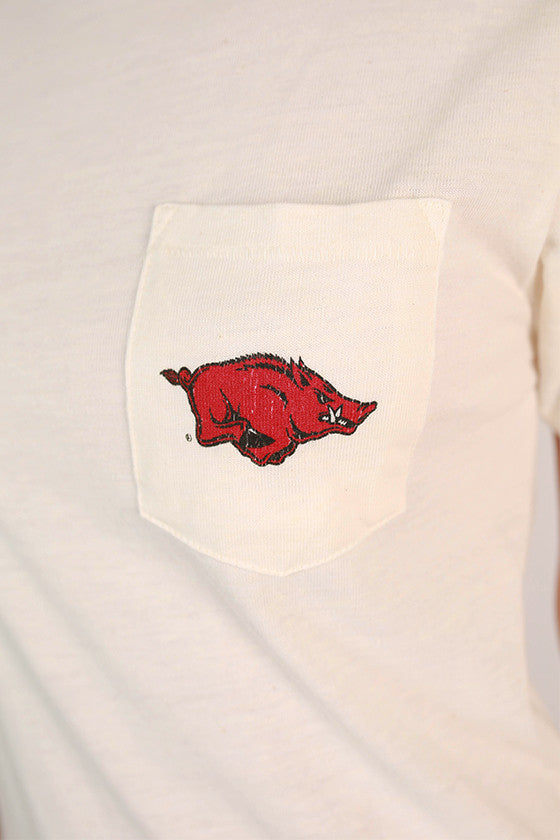 Distressed Razorback Pocket Tee