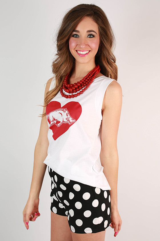 Red Hog in Heart Boyfriend Tank