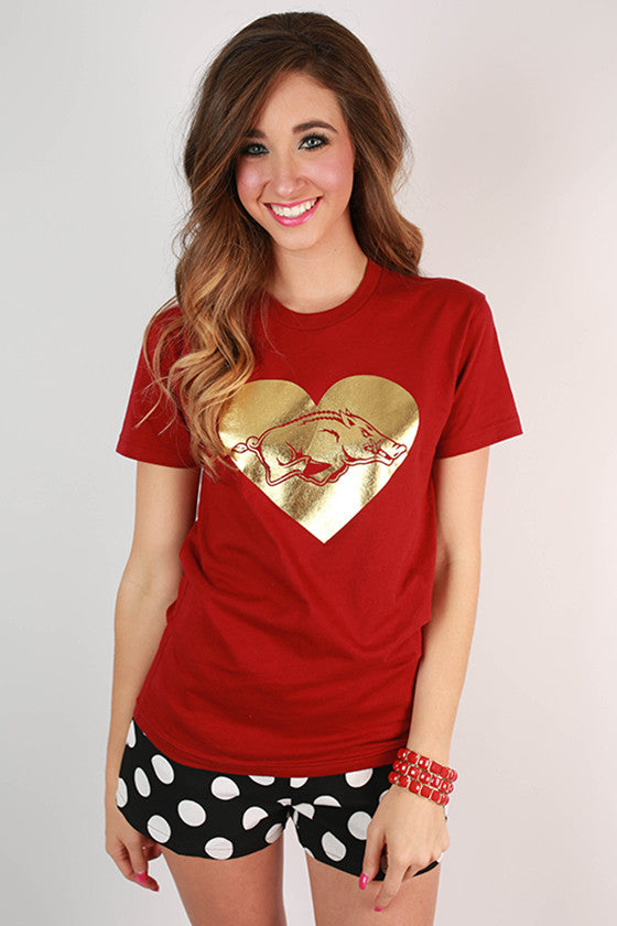 Gold Hog in Heart Crew Tee
