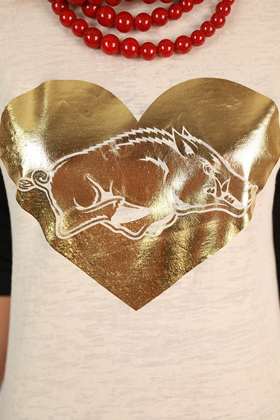 Gold Hog in Heart Big League Baseball Tee