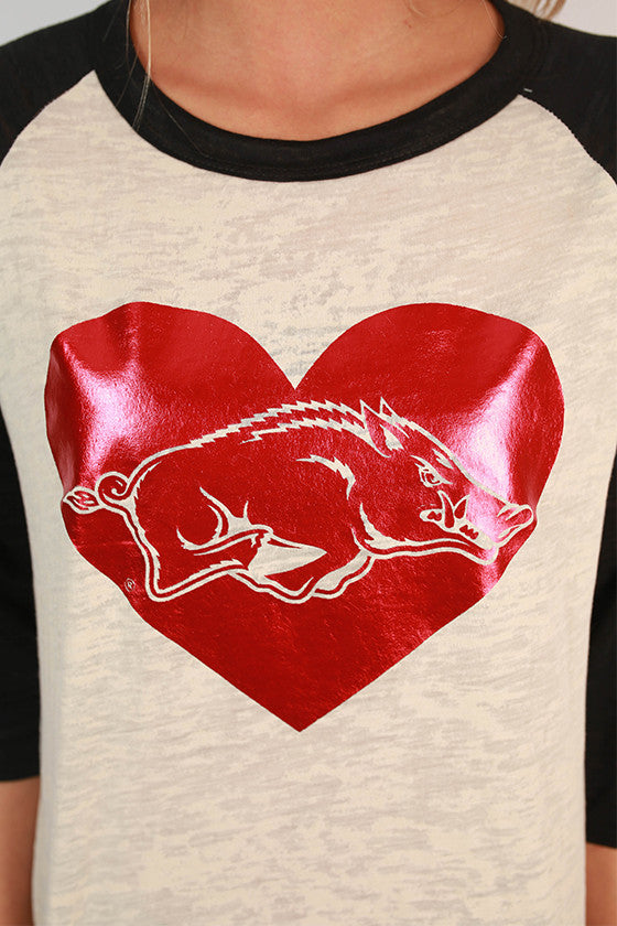 Red Hog in Heart Big League Baseball Tee