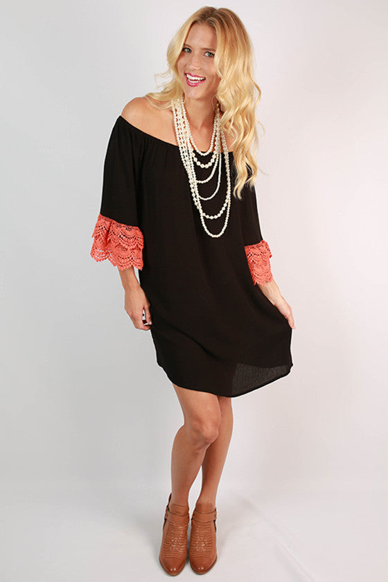 Derby Darling Off The Shoulder Dress in Orange