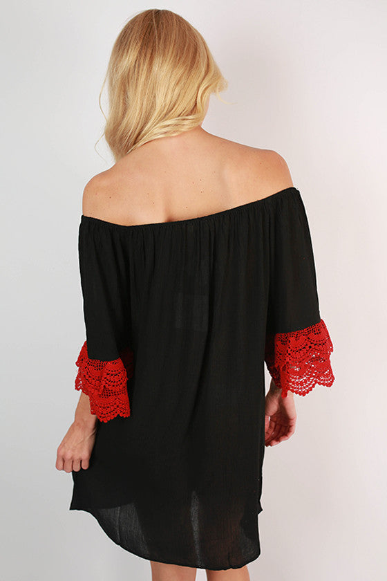Derby Darling Off The Shoulder Dress in Red