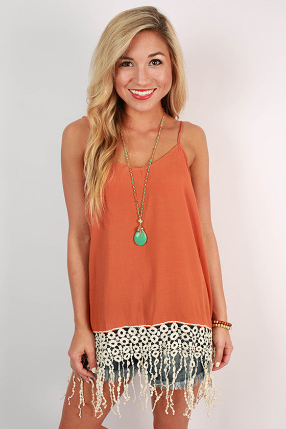 Fringe For Miles Tank in Rust