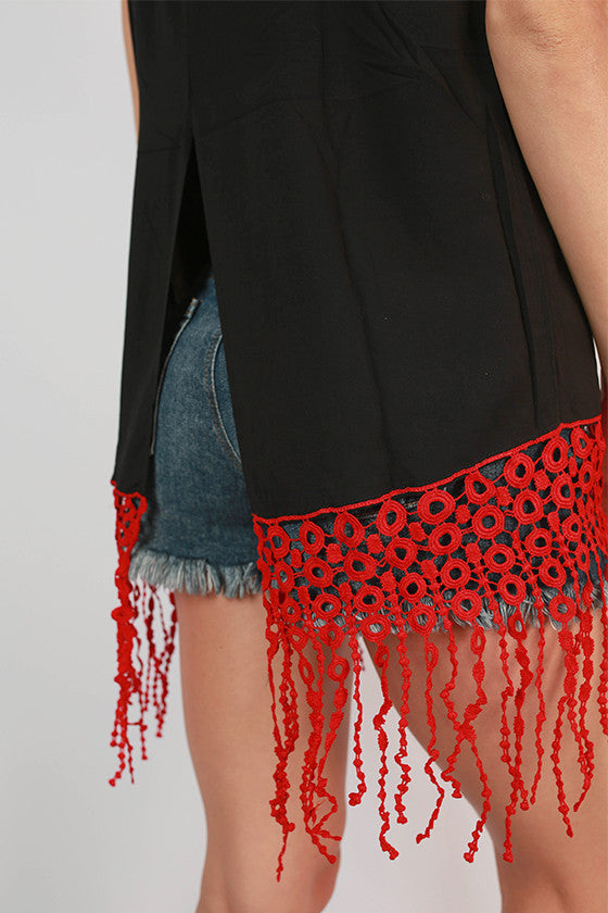 Fringe For Miles Tank in Black